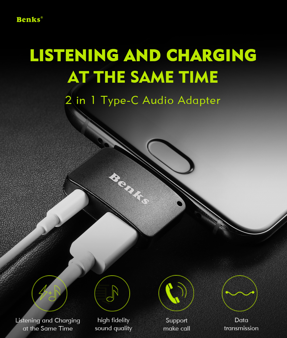 Benks Usb Type C Audio Charging Adapter To 35mm Earphone 31 Jack Converter White For Xiaomi 6 Letv Phone Leeco Le 2 Pro Max