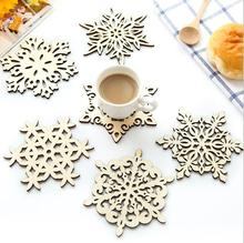 1 Piece wood coaster kitchen christmas placemat table mat decorations for home cup drink mug tea coffee snowflake pad drink(China)