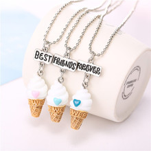 Set of 3Free shipping Best Friends BFF resin ice-cream pendant bead chain necklace,3 colors lead nickel cadmium free kids jewelr(China)