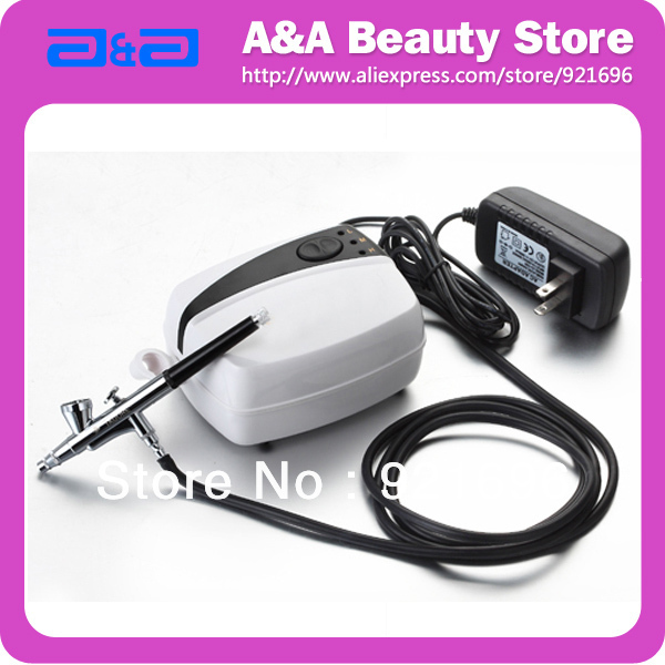 Portable Airbrush Nail Art  Set with Mini Compressor &amp; Airbrush 0.4mm Nozzle, Hose, Adaptor Free<br>