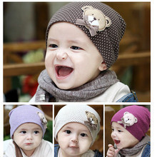 Lovely Cute Infant Kids Baby Bear Beanies Hat Cap for Boys Girls Solid Color Soft Hat Thick Baby Cold Cap Super Pocket Hat(China)