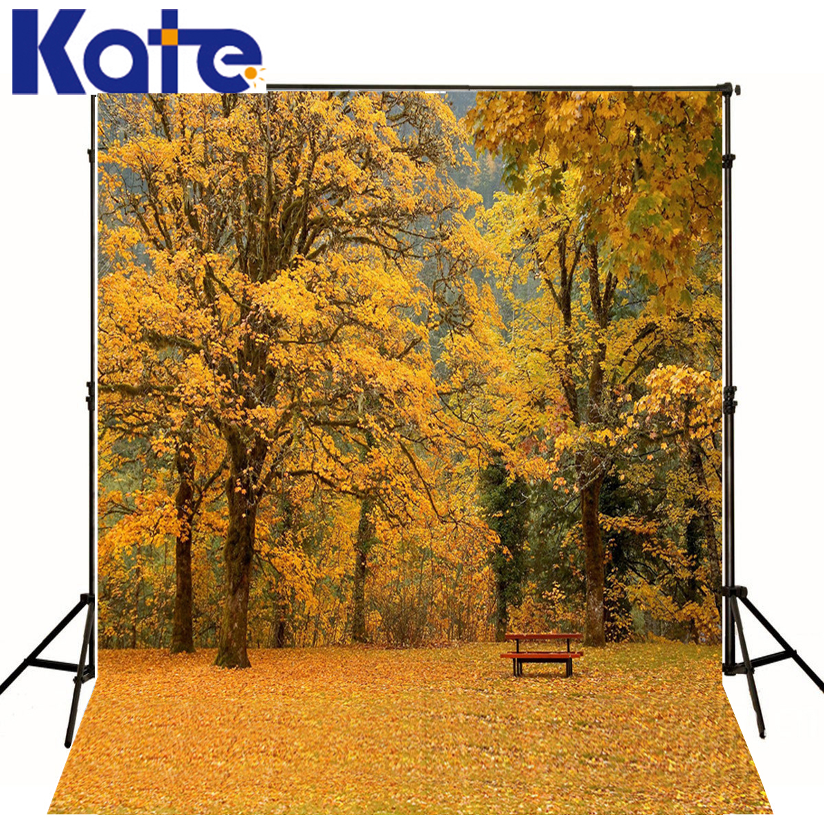 KATE Photo Background 5x7ft Yellow Leaf Chair Backdrop Children Scenery Backdrops Trees Sky Background for Photo Shoot Studio<br>