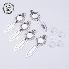 Bookmark Makings Sets, with Alloy Cabochon Settings and Glass Cabochons, Flat Round, Antique Silver, 88x30x4mm; Tray: 18mm(China)
