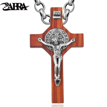 ZABRA Solid 925 Sterling Silver Luxury Red Log 3D Jesus Pendant Men Necklace Vintage Retro Christmas Gift Male Christian Jewelry
