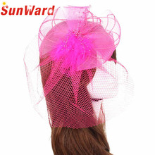 Women New Fashion Wedding Fascinator Veil Feather Hard Yarn Headband Hats Women Lady Brides Hair Accessories Holiday Gifts Nov7