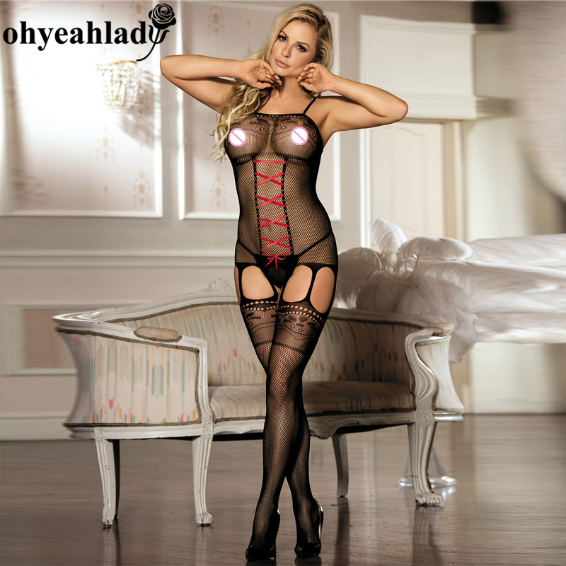 Ohyeahlady H3157 Open Crotch Bodysuit Solid Fishnet Body Sexy Bodysuit Plus Size Bodystocking XL Crotchless Sexy Product