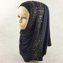 New Style Cotton Jersey Solid Color Large Size Rhinestone Scarf Muslim Hijab Shawl Free Shipping Glitter Scarves