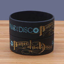 Wholesale 30pcs/lot Wide Size Panic at the Disco Silicone Bracelets Black Rubber Rock Band Fans Bracelets