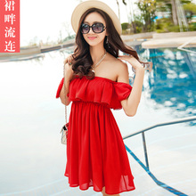 2016 Summer Lolita Palace Red Sexy Ruffle Tube Top Slit Neckline One-Piece Holidaying Strapless Summer Sleeveless Beach Dress