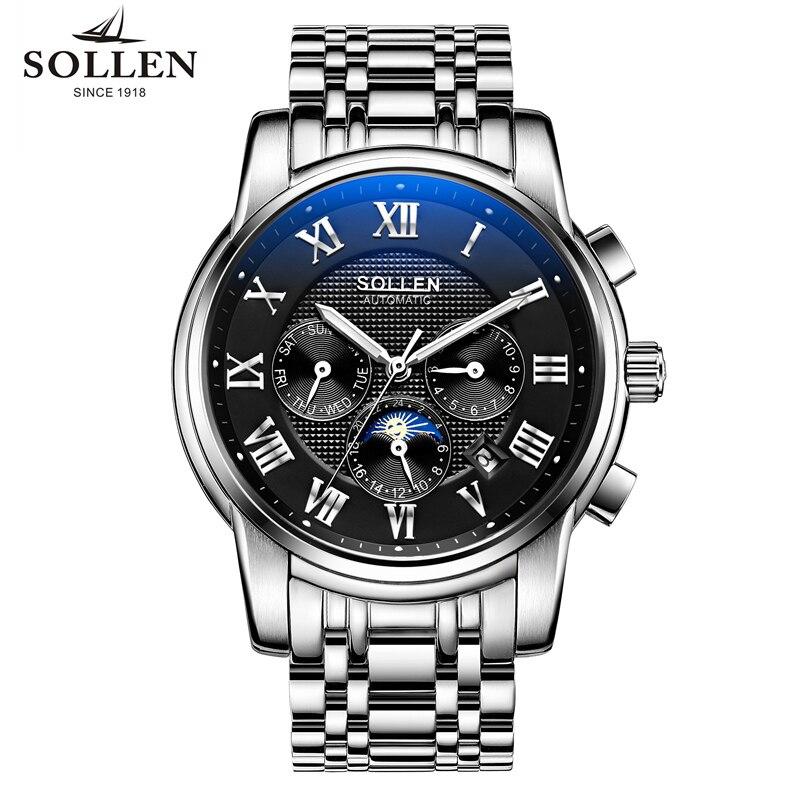 Mens mechanical wristwatches. Fashion sports multi-functional waterproof watch men. Luxury brand mens watches. SOLLEN #802<br><br>Aliexpress