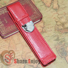 CROCODILE LUXURY RED ROLLER AND FOUNTAIN PENS CASE HOLDER FOR 1 PEN