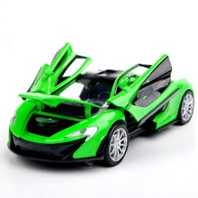 Collectible Car Models 1:32 Green McLaren P1 Alloy Diecast Car Toys Electronic Pull Back Car Model Kids Toys brinquedos Gift