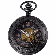 Vintage Roman Steampunk Black Movement Hand Winding Relogio Clock Jewel Chain Fob Pendant Mechanical Pocket Watch Gift /WPK205