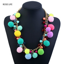 ROSE LIFE Bohemian national wind necklace personality wild plush ball ladies necklace fashion jewelry chokers necklaces for wome(China)