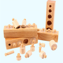 4pcs/Lot Upgraded ABCD Cylinder Blocks 15.2cm A++ Wood Montessori Materials Educational Wooden Baby Toy(China)