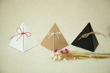 50pcs Hot Sale brown kraft paper Gift Box Triangular Pyramid Wedding Favors Candy Boxes Party Favors Box Giveaways Box(China)