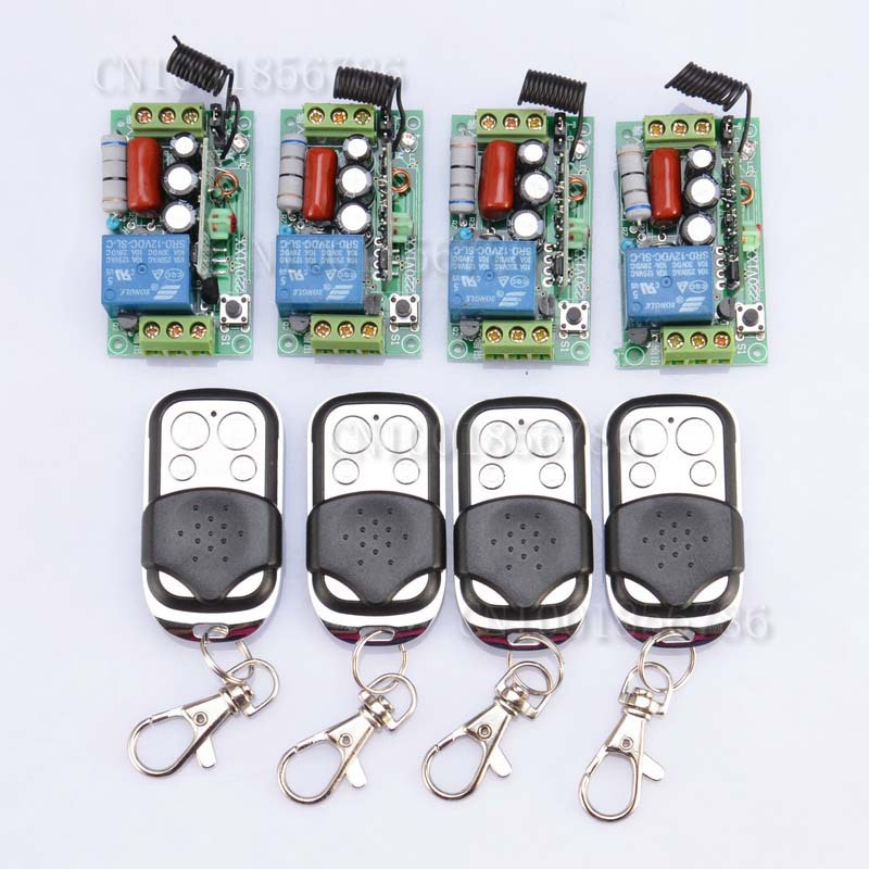 1000W AC220V 1CH 10A RF Wireless Push Remote Control Light Switch Learning Code System 4Receiver 4Transmitter Toggle Momentary<br>