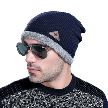 Wholesale Autumn And New Wool Male Winter Plus Cashmere Signature Skullies Beanies Unissex Knitted Hat Manufacturers(China)