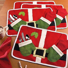 Christmas Santa Claus Pocket Cutlery Holder Table Mat Placemat Xmas Decoration