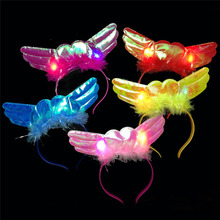 2017 Light-Up Angel Headband Feather LED Flashing Blinking Head Band Fun Glow Party Supplies Halloween Christmas(China)