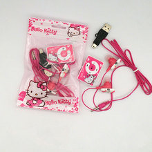 2016 new Mini Hello Kitty MP3 Music Player Clip MP3 Players Support TF Card With Hello Kitty Earphone cable  Plastic bags