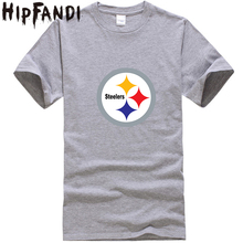 HIPFANDI 2017 Fashion Mens O-neck Steelers Letter Printed T-shirts Summer Cool Short Sleeve Hot Sale Pollover Cotton Men T-shirt(China)