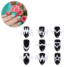 6 Sheets French Edge Nail Tip Guides White Star Heart Wave Line DIY Stencil Sticker Styling Tool Manicure Nail Art Decoration