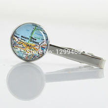 Vintage USA Map keepsake Tie Clip Novelty Interesting own city map Tie tacks Fashion Upscale New Orleans Map tie pin  T 747