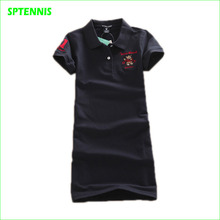 Polo-neck Tennis Dress Women Short-sleeve Cotton Knee-Length Dresses Tennis Badminton