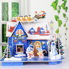 Three-Dimension Christmas Crafts House DIY Doll House Toy 3D Paper Craft Models Puzzle Toys Xmas Children Favor Gifts DIY Manual