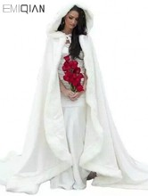 Fashion Free size Winter Bridal Cape Faux Fur Christmas Cloaks Jackets Hooded Perfect For Winter Wedding Bridal Wraps Abaya(China)