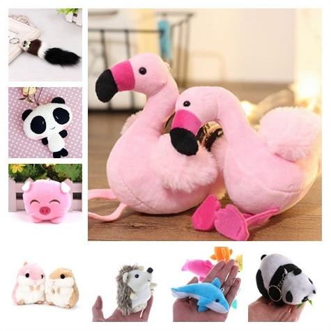 Mini Plush Animal Key Chains Cute Hamster Flamingo Pig Panda Hedgehog Pompom Fluffy Keyring Car Handbag Pendant Key Holder