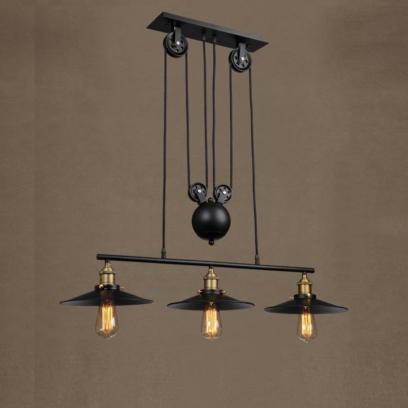 Loft vintage pendant lights Bar Kitchen Home Decoration E27 Edison Light Fixtures Iron Pulley Lamp Nordic Industrial Retro 1