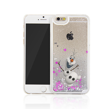 For iPhone 6 Case Cute Happy Snowman Snow Treasure Transparent Glitter Star Liquid Protection Cover For iPhone 5 5s 6s 6plus 7