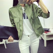 Autumn Hot Casual Fashion Pocket Artificial Suede Leather Slim Women Short Jacket Thin Coat Chaquetas Mujer Outwear
