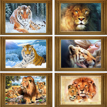 DIY 5D Diamond Mosaic Lion tiger Handmade Diamond Painting Cross Stitch Kits Diamond Embroidery Patterns Rhinestones Arts(China)