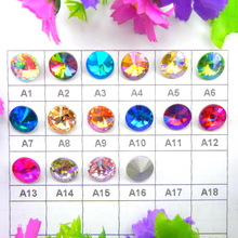 AB Colors 6mm 8mm 10mm 12mm 14mm 16mm 18mm Rivoli round shape Glass Crystal Glue on rhinestone beads accessories diy trim