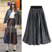 Europe and the United States wind 2017 autumn and winter new large size elasticized pleated skirts women long skirt