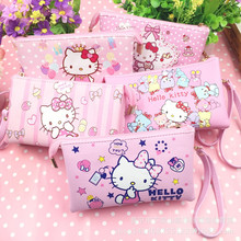 Cute Cartoon Hello Kitty pu Leather Coin Purses Girl Wallet Women Clutch Purse Key Bags Storage Pouch Cosmetic Bag Card Holader(China)