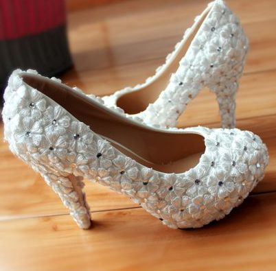 Full lace rhinestones high heels platforms wedding shoes white for brides, TG136 high quality 100% real photos ladies party pump<br>