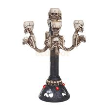 Gothic Lighted Skull Candle Stick Tea Lights Holder Halloween Haunted Table Centerpiece Decorative Floor Lamp Party Prop