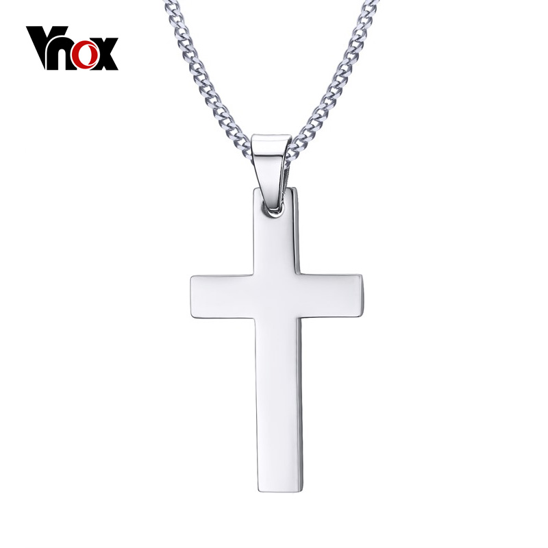 "VNOX Classic Mens Cross Pendant Necklace 24"" Stainless Steel Link Chain Necklace Statement Jewelry(China)"