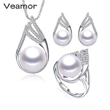VEAMOR Simple Crystal Freshwater Pearl Jewelry Sets Fashion Punk style Choker Necklace Earrings Bridal Jewelry Sets for Women(China)