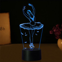 3D Illusion Lamp Ballet Girl LED USB 3D Night Lights 7 Colors Flashing Novelty LED Table lamp as Kids Bedside Decorations(China)