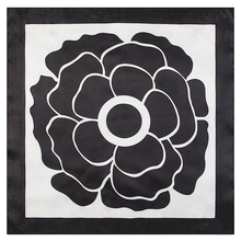 Imitated Silk Black and White Flower Printed 60cm*60cm Lady Square Scarf Woman Headband Hijab