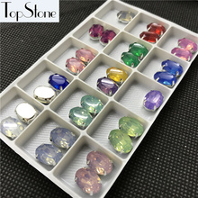 Topstone Sew On 10x14mm,13x18mm 50pcs Oval Fancy Stone Resin More opals With Claw Setting Sewing Jewelry Beads