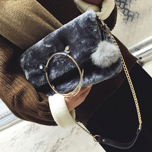 Folding bag small  chain shoulder Bag women envelope evening clutch bags fur sac charm fashion party Bags luxury plush bolso