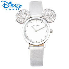 Disney Watch Women 2018 Mickey Mouse Rose Gold Women Watches Fashion Casual Rhinestone Waterproof Leather Luxury Ladies Watch(China)