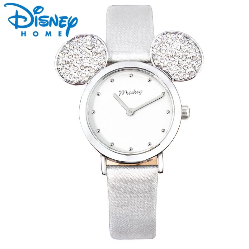 Disney Watch Women 2018 Mickey Mouse Rose Gold Women Watches Fashion Casual Rhinestone Waterproof Leather Luxury Ladies Watch<br>