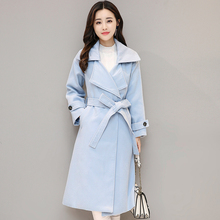 2017 New Autumn England Style Women Wool Blends Long Coat Slim Collect Waist Over-the-knee 1 Coats Outerwear Gray Blue 191(China)
